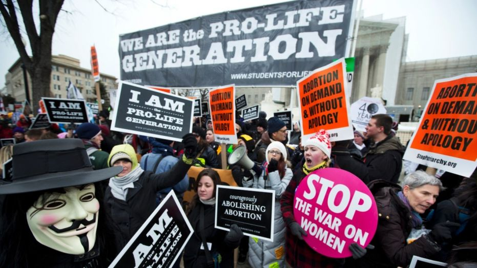 Pro-abortion rights activists facing off against anti-abortion demonstrators in front of the Supreme Court in 2013.