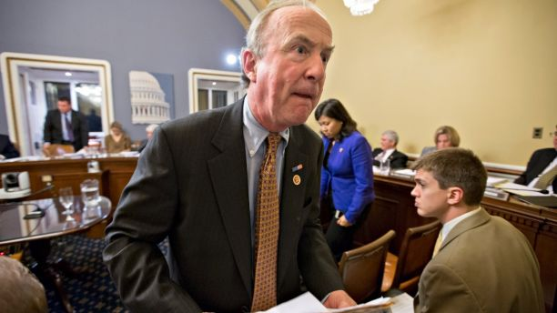Rep. Rodney Frelinghuysen, R-N.J., leaves the House Rules Committee after making his case to the House Rules Committee for an aid package to assist victims of Superstorm Sandy, Monday, Jan. 14, 2013, at the Capitol in Washington. The House is expected to vote on the bill Tuesday.  (AP Photo/J. Scott Applewhite)