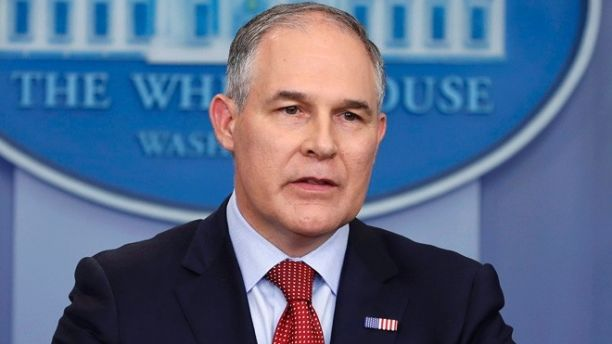 FILE - In this June 2, 2017 file photo, Environmental Protection Agency administrator Scott Pruitt speaks in the Brady Press Briefing Room of the White House in Washington. The head of the Environmental Protection Agency used public money to have his office swept for hidden listening devices and bought sophisticated biometric locks for additional security.  (AP Photo/Pablo Martinez Monsivais, File)